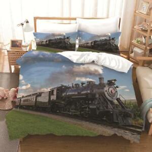2Pcs Steam Train Kids Quilt Doona Duvet Cover Set Single Double Queen Size Bed