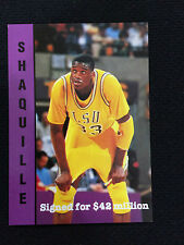"""SHAQUILLE O'NEAL RC ODD BALL 1992 LSU """"SIGNED FOR $42 MILLION"""" BASKETBALL CARD"""