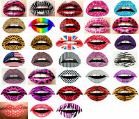 2 Lip Sticker Temporary Tattoo Sticker Transfers Lipstick Art Party Fancy Dress