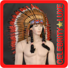 81cm Native Indian Chief Black Red Feather Headdress Fancy Dress Costume Men