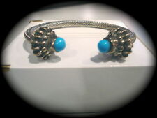 CABLE STYLE STERLING CUFF W/TURQUOISE ENDS -TAXCO,MEX. - HEAVY  53.4 GRAMS