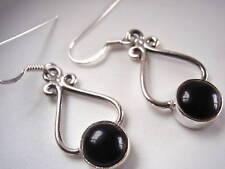Black Onyx Curves Sterling Silver Dangle Earrings Corona Sun Jewelry