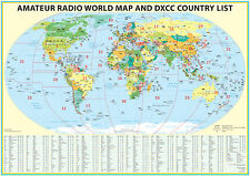 "2018 Ham Radio Map with DXCC lookup table 23x33"". Amateur Radio Prefixes"