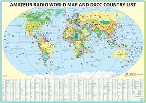 "2020 Ham Radio Map with DXCC lookup table 23x33"". Amateur Radio Prefixes"
