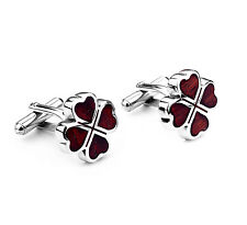 STAINLESS STEEL WOOD MAROON LUCKY CLOVER MENS GENTS CUFFLINKS WITH GIFT BAG