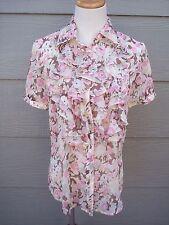 Ralph Lauren Women Semi Sheer Ruffle Blouse Sz M 37B Pink Green Floral Shirt Top