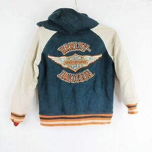 Harley Davidson Youth Hoodie Full Zip Jacket Youth Size 8/10 Medium Sherpa Lined
