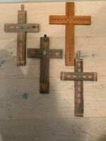 4 Signed Vintage NM Folk Art Cross Carvings  Spanish Colonial New Mexico