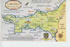 Map postcard of Cornwall.