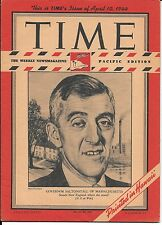 Time Magazine Pacific Pony Edition April 10, 1944. Governor Saltonstall, Mass.