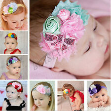 8PCs Baby Girls Infant Toddler Kids Headband Rose Bow Flower Hair Band Headwear