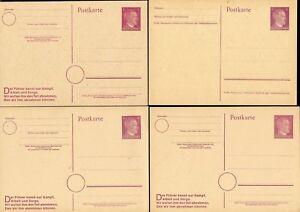 6 MINT 6pf EFFIGY POSTAL CARDS MINT - 2 VARIETIES