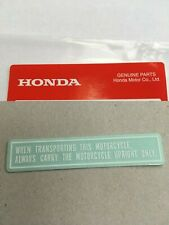 Honda Z50J Z50 Monkey Bike Transport Warning Decal Trail Honda Monkeybike