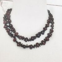 Vintage Necklace Boho Wooden Brown Double Strand Costume Jewelry