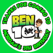 24 BEN10, PERSONALISED GLOSS, BIRTHDAY PARTY STICKERS, LABELS