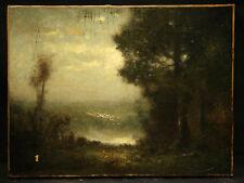 Antique 19 Century Painting Landscape Seen Barbizon School Style