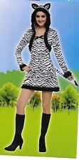 Zebra Costume Adult Halloween Dress Hood Tail Black White Animal Print  S 4-6