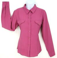 The North Face Top Button Up Shirt Womens Size M Pink Polyester Ruched 2 Pockets