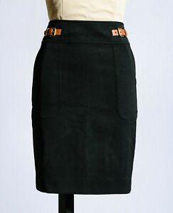 Lauren Ralph Lauren Black 100% Wool Buckle Straight Pencil Career Skirt Sz 4