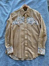 New listing Vintage 1970's Men's Tem Tex Medium Floral Long Sleeve Western Shirt Top 16 Inch
