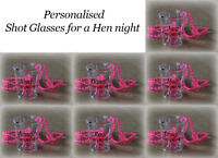 10 x personalised Hen Party Do/Willy Shot Glasses With Pink Necklace Accessories