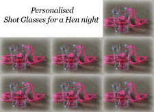 10 x personalised Hen Party Night Do/Willy Shot glass Glasses Pink Necklace