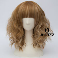 Lolita Flaxen Mixed Brown Curly Fringe Bangs Women Cosplay Wigs Heat Resistant