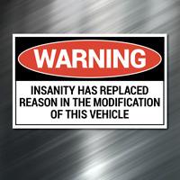 (1) Warning Insanity Sticker car Auto Race Drift JDM Decal Truck Funny Diesel