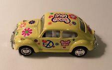 Kinsmart Miniature Yellow Peace Love 1967 Volkswagen Classical Beetle Car 1:64