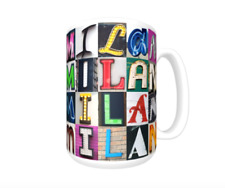 MILAN Coffee Mug / Cup featuring the name in photos of sign letters