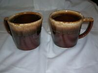 Set of 2  Vintage Mccoy Pottery Brown Drip Mugs