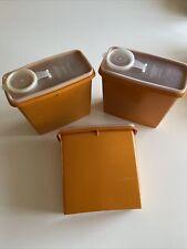 More details for vintage tupperware orange set of 3 lidded cereal tubs : 469-11 free uk p&p