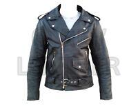 Mens Real 100% Leather Brando Motorbike Motorcycle Biker Zip Jacket All Sizes UK