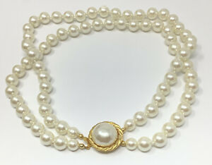 """Carolee Double Strand Faux Pearl Choker Necklace 16"""" (B)"""