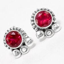 Ruby - India Stud 925 Sterling Silver Earrings Jewelry 7611