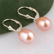 BEAUTIFUL! 8-9MM Pink Akoya Cultured Pearl Earring Silver Hook