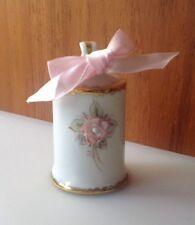 """MZ Irish Dresden Porcelain Mother's Day Bell 3"""" Tall Pink Flower Gold Trim"""