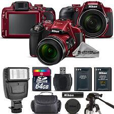 Nikon COOLPIX B700 (RED) 20.2MP 4K Video WiFi NFC Camera 60x Zoom - 64GB Kit