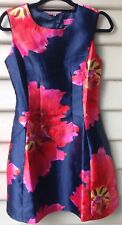 BOOHOO BNWT Size 8 Womens Dress Navy Multi Floral Satin Skater Sleeveless Party
