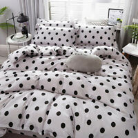 Polka Dot Print White Bedding Set Duvet Quilt Cover+Sheet+Pillow Case Four-Piece