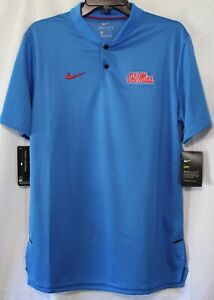 Nike Ole Miss Rebels Men's Dry-Fit Football Sideline Polo Shirt, Blue, 35897X