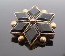 Antique Victorian Era Mourning Brooch / Pin - Black Star Shape