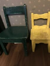 """2 Primitive Wooden Kids Chairs Green And Yellow 13x22"""", 10x13"""""""