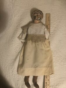 Vintage 1910s Metal Head Minerva  5 Germany Cloth Body Girl Doll 17in. Tall