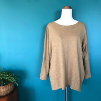 SEED Earthy Brown Mustard Long Batwing Sleeve Lightweight Cotton Top Size S 10