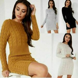 Women's Ladies Chunky Cable Knitted Winter Long Bodycon Jumper Sweater Dress Top