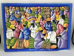 Original Folk Art Oil Painting on Canvas  Signed .  Women With Fruit. Curacao