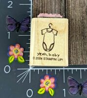 Stampin' Up Rubber Stamp Yeah Baby 2004 One Piece Shirt Crawler Shower #D99