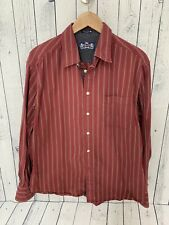 R & G Robert Graham Dark Red Striped Long Sleeve Button Front Shirt XL B4
