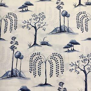 Sanderson Curtain Fabric WILLOW TREE 5.7m Blue Ivory Cotton Design 570cm